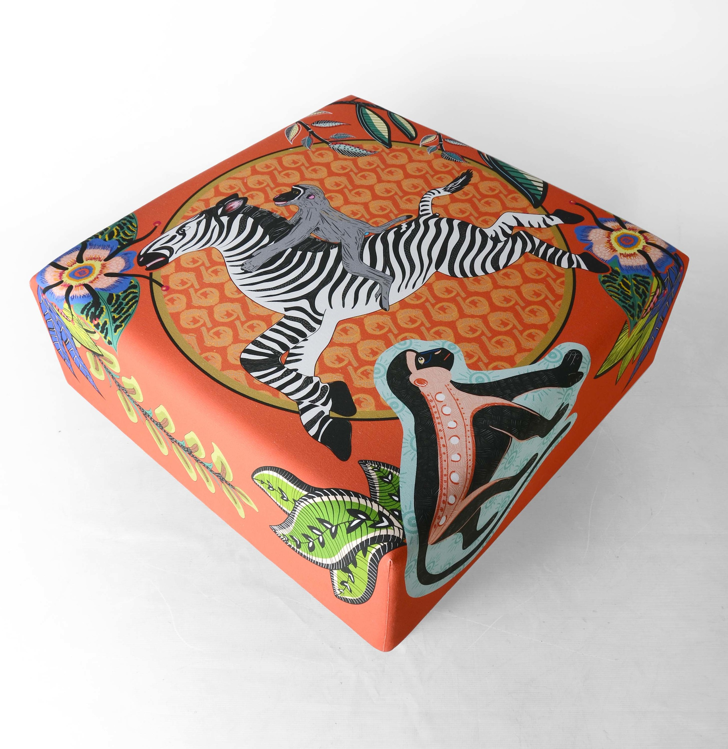 Qalakabusha Ottoman , complete with cheeky monkeys: perfect for the playroom