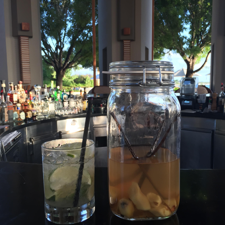 Vanilla and ginger infused vodka at Amanyara's round bar