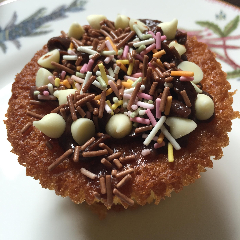 Oscar's finished cupcake