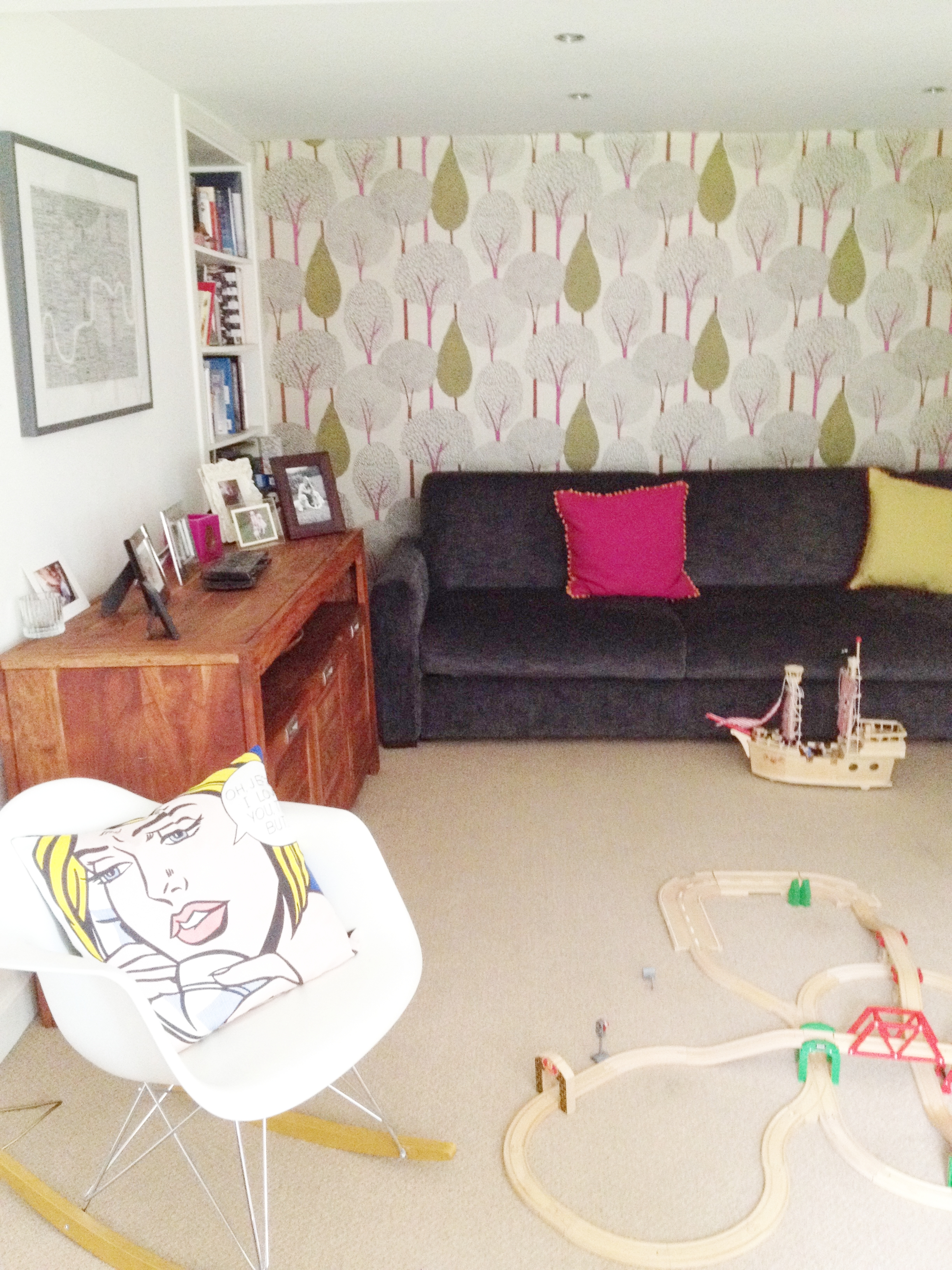The Pink House basement: Before = a hotch-potch playroom