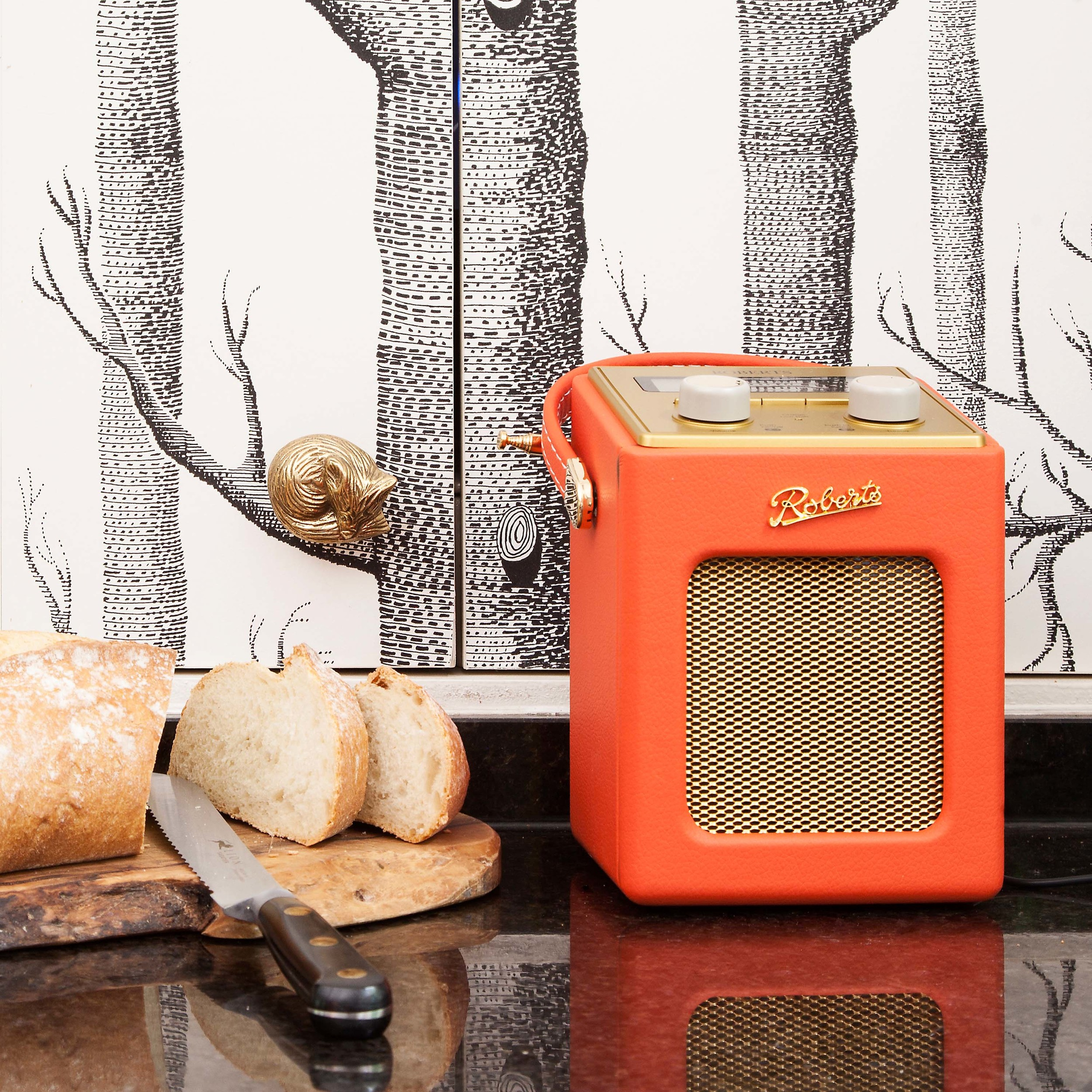 The Pink House kitchen with Roberts radio and Cole & Son's Woods wallpaper