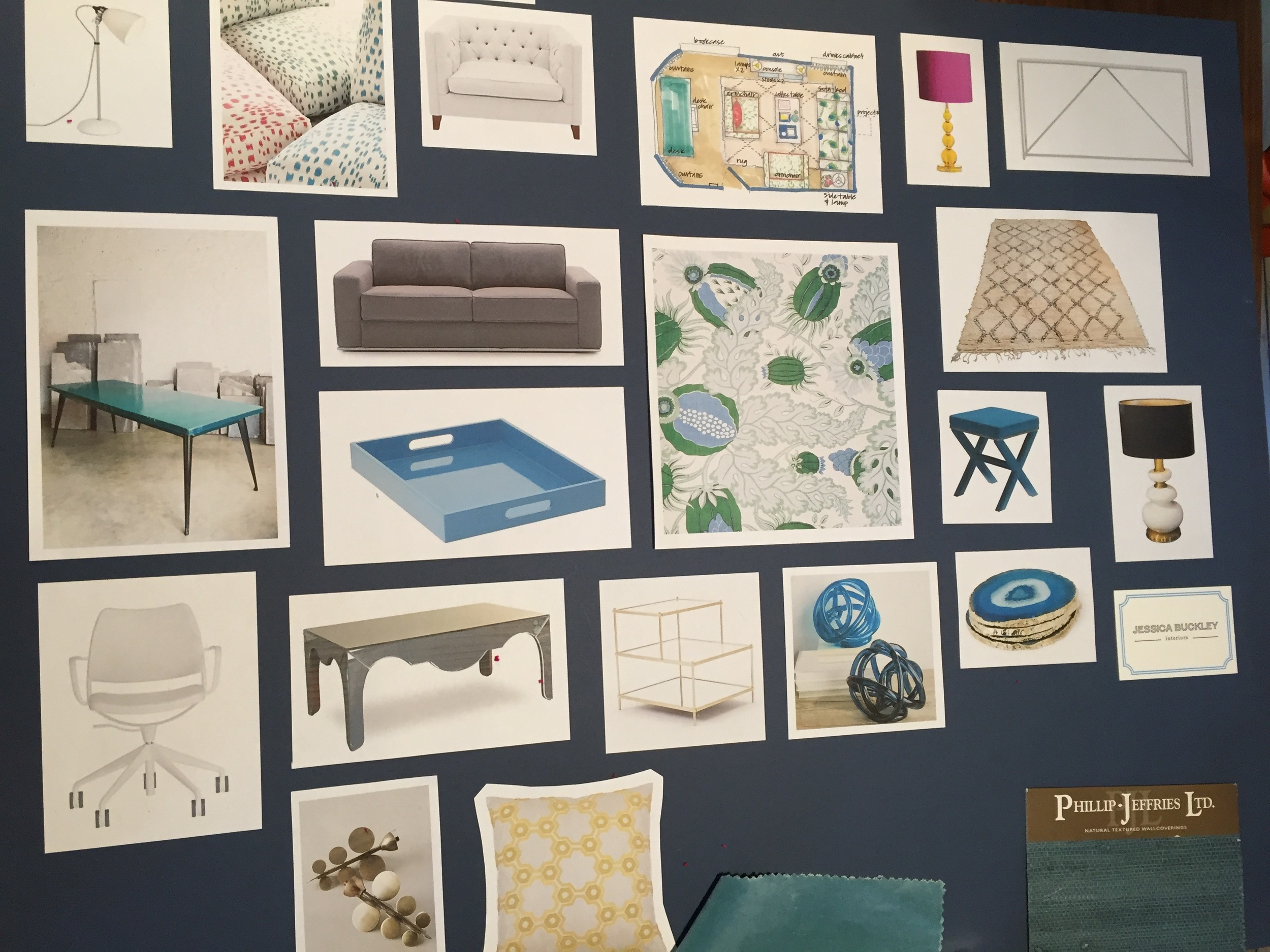 Jessica Buckley Interiors moodboard for The Pink House Den