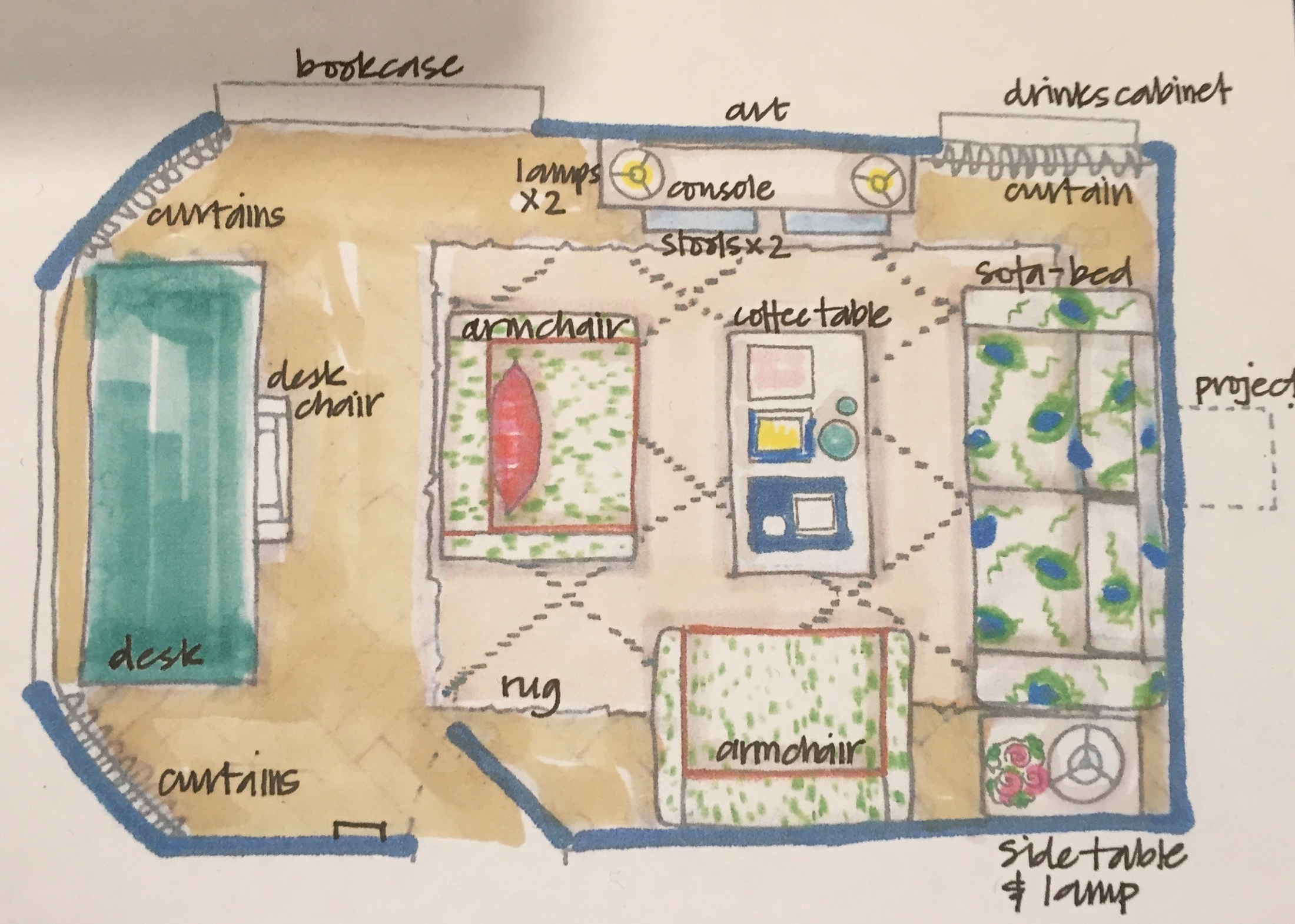 Jessica Buckley Interiors scale drawing for The Pink House
