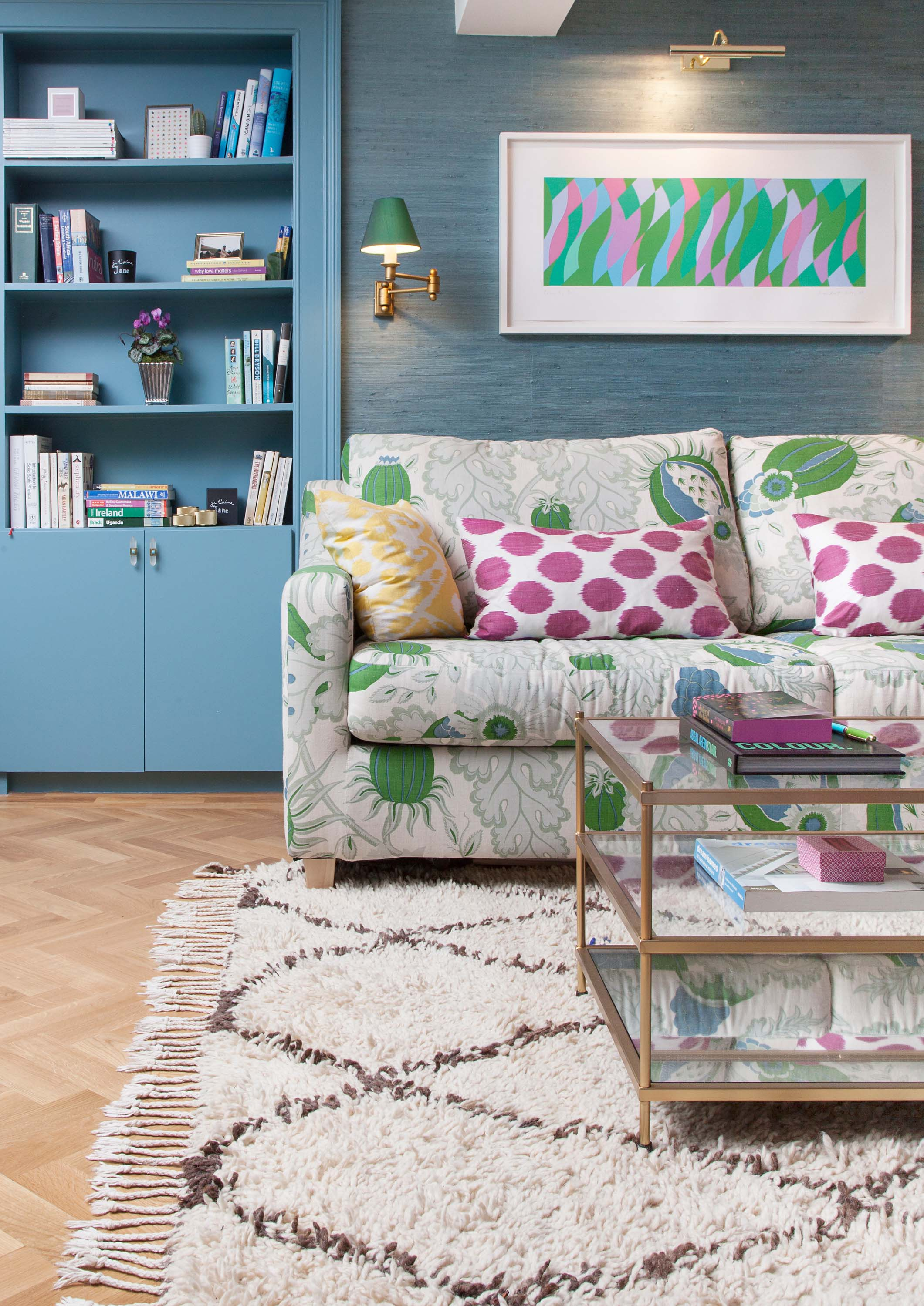 The Pink House den with vintage Beni Ourain rug