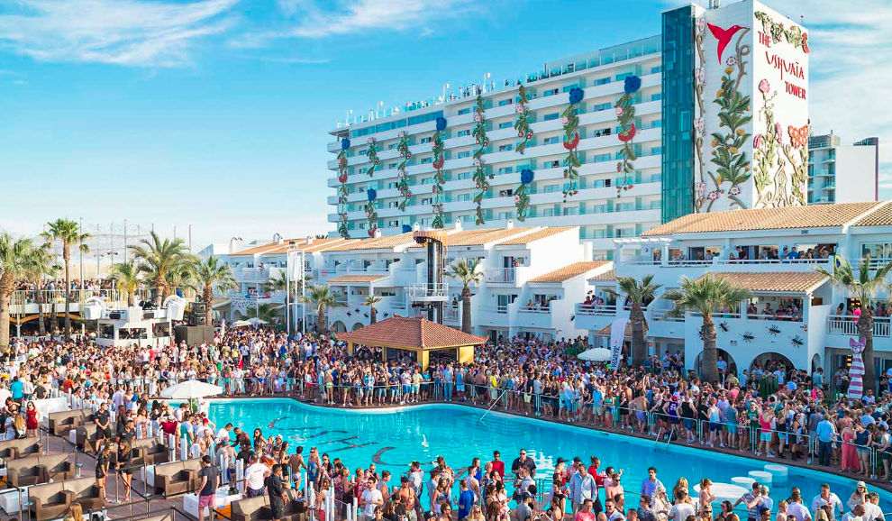 The Club Pool in Ushuaia, Ibiza, where we did drinking