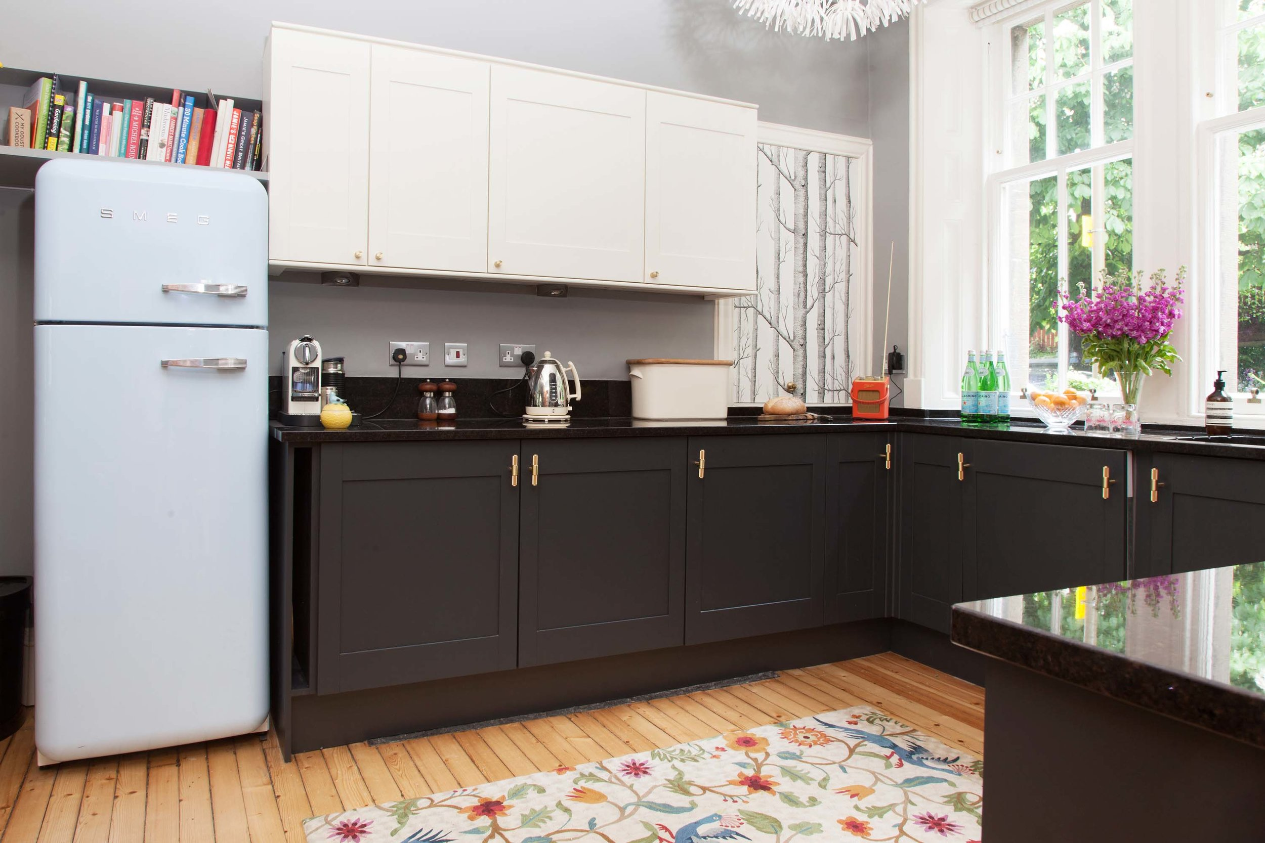 Black kitchen cupboards brass Buster + Punch handles