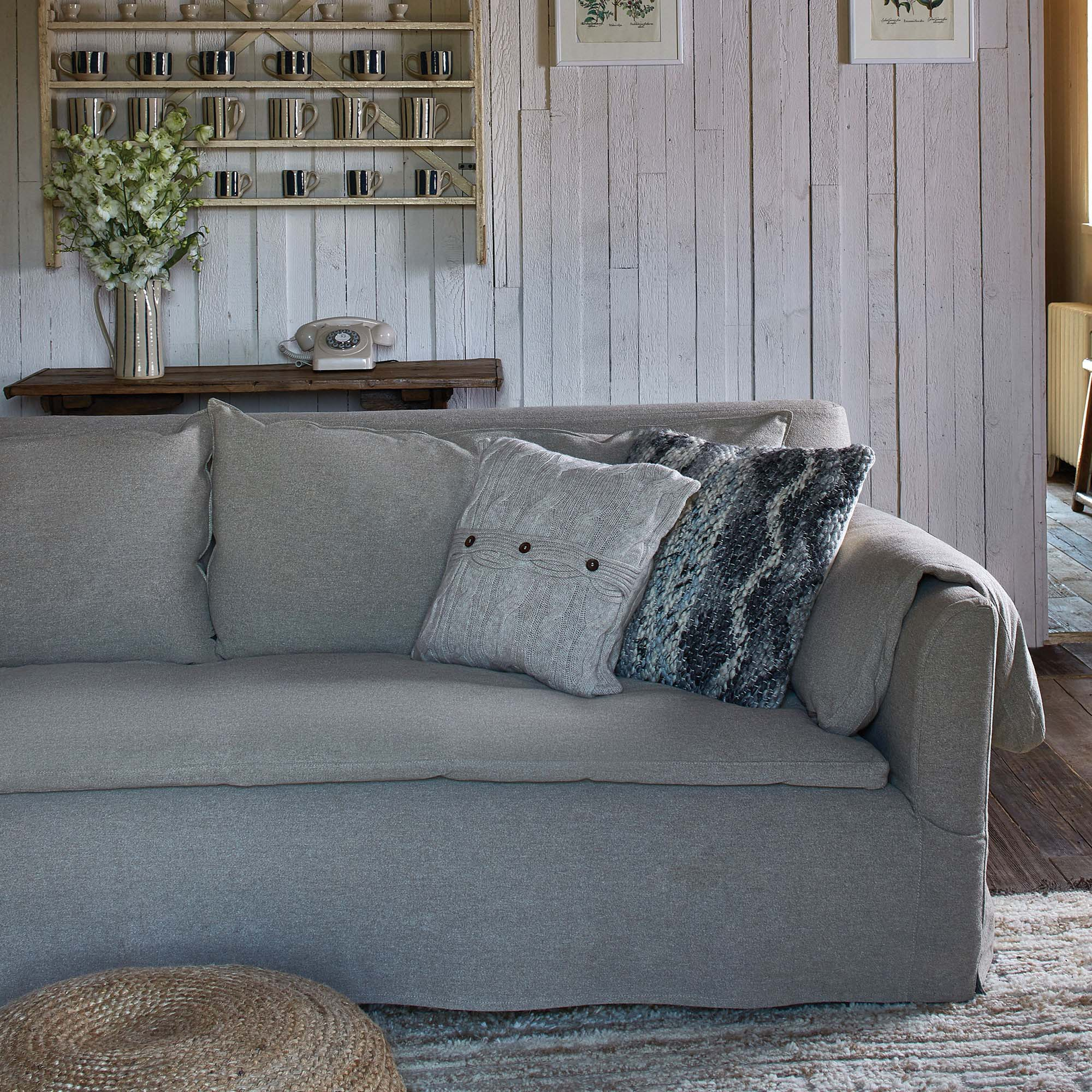 Soho Home grey linen loft sofa