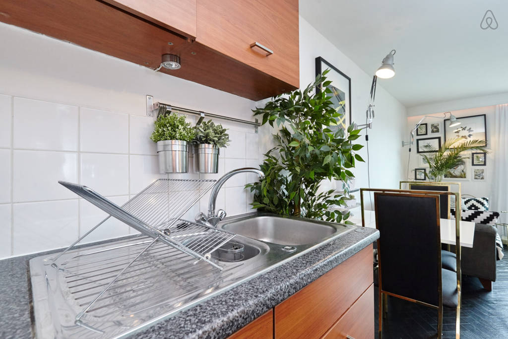 Ikea's fake herbs that look real hanging above the sink