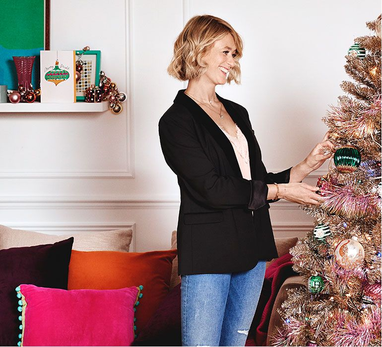 Emily Murray from The Pink House in a Marks and Spencer colourful Christmas feature