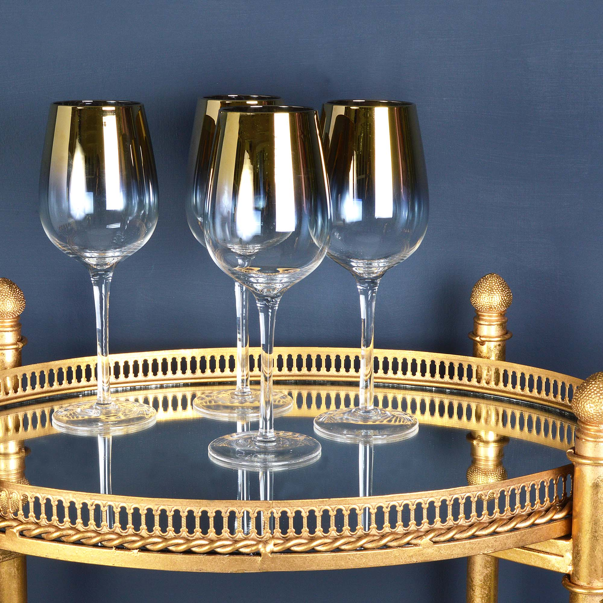 Audenza's ombre wine glasses and decorative drinks stand