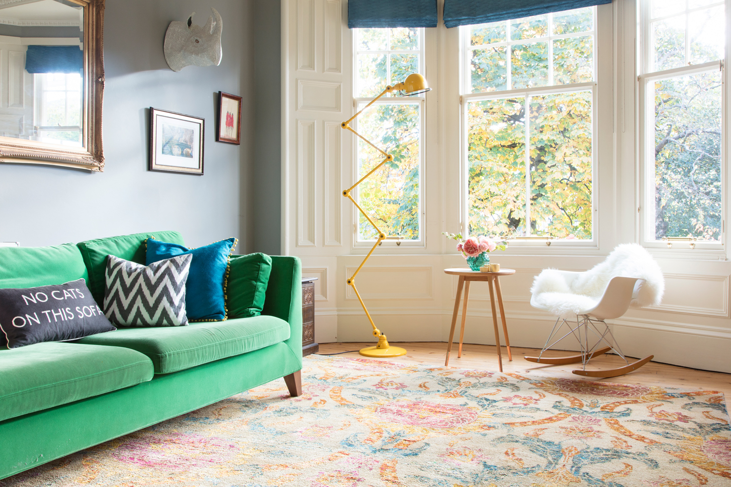 Wendy Morrison Design's  Raika  rug in The Pink House living room/Photo: Susie Lowe