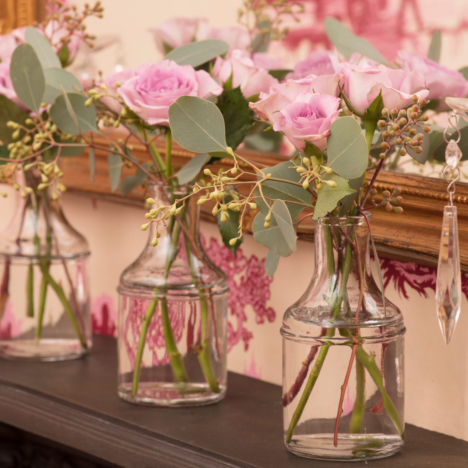 Pink roses in the Pink House dining room/Photo: Susie Lowe