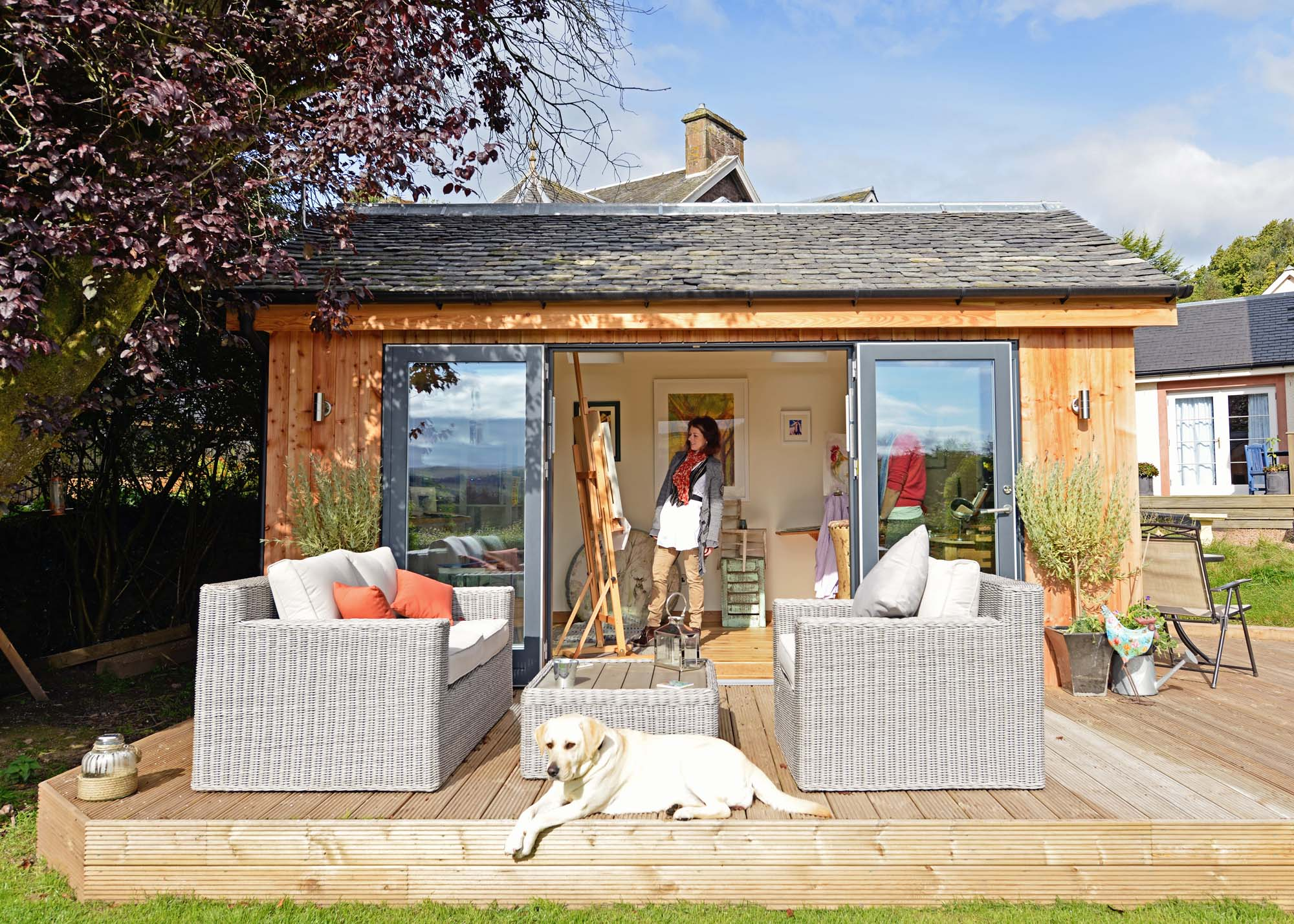 Artist Kim's JML She Shed: no manky magazines here/Photo: JML Garden Rooms