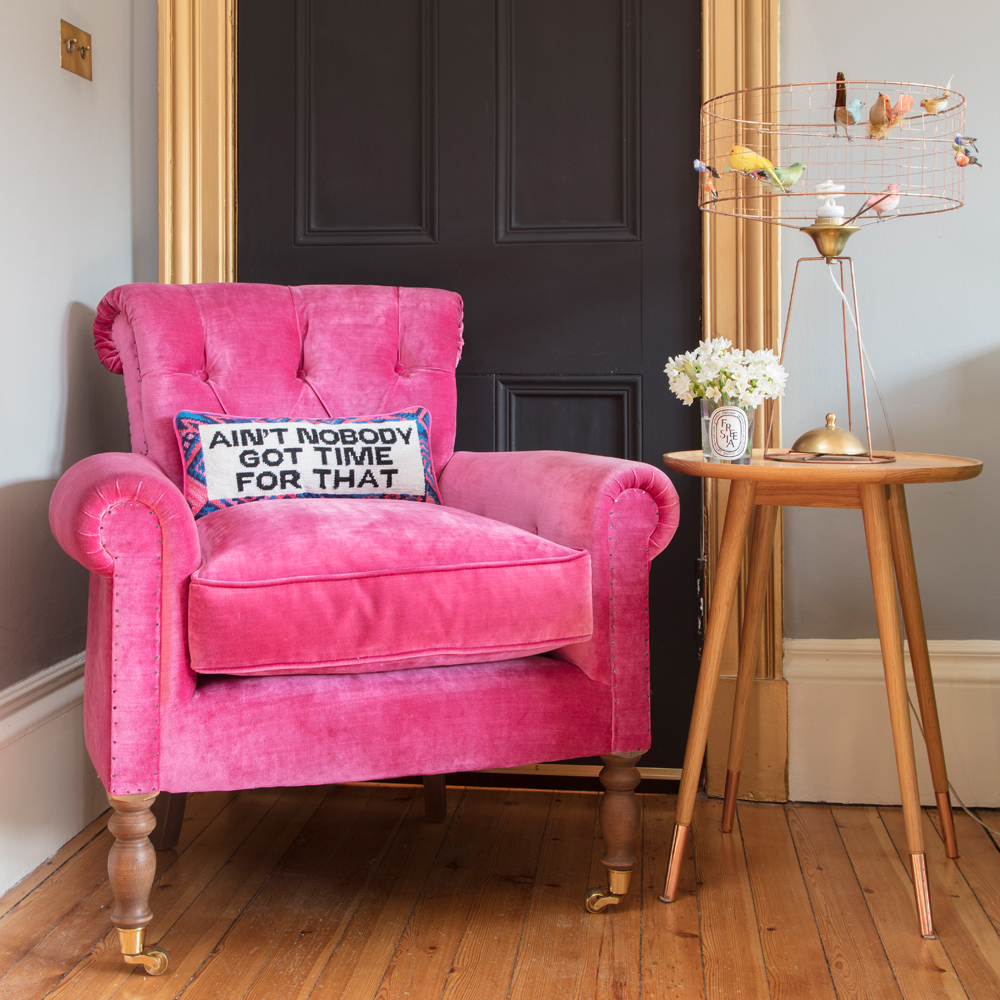 WIN this armchair (cushion not included, but I'll throw in a small Pink House Dweller)