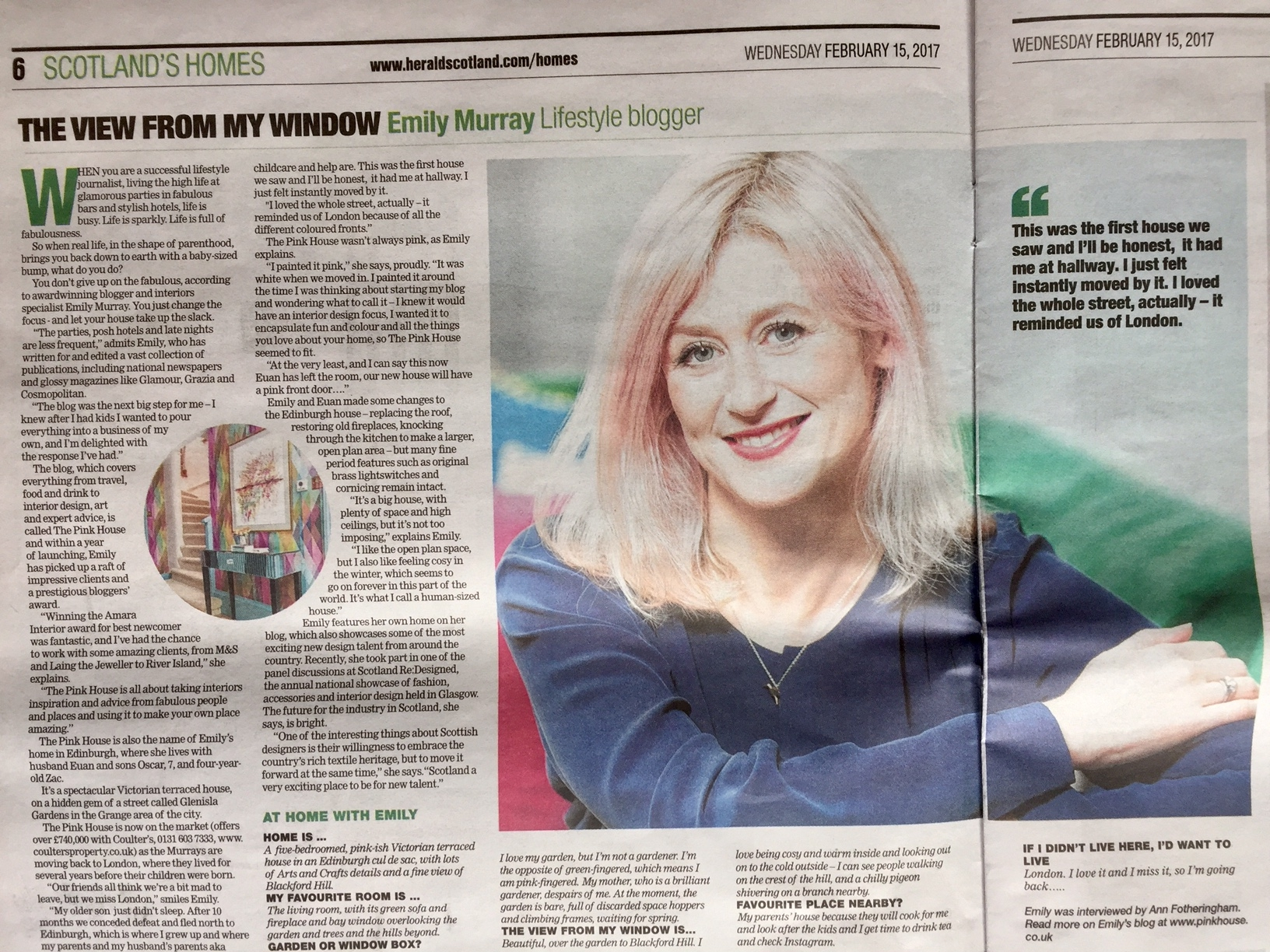 Emily Murray from The Pink House in The View From My Window in The Herald Scotland