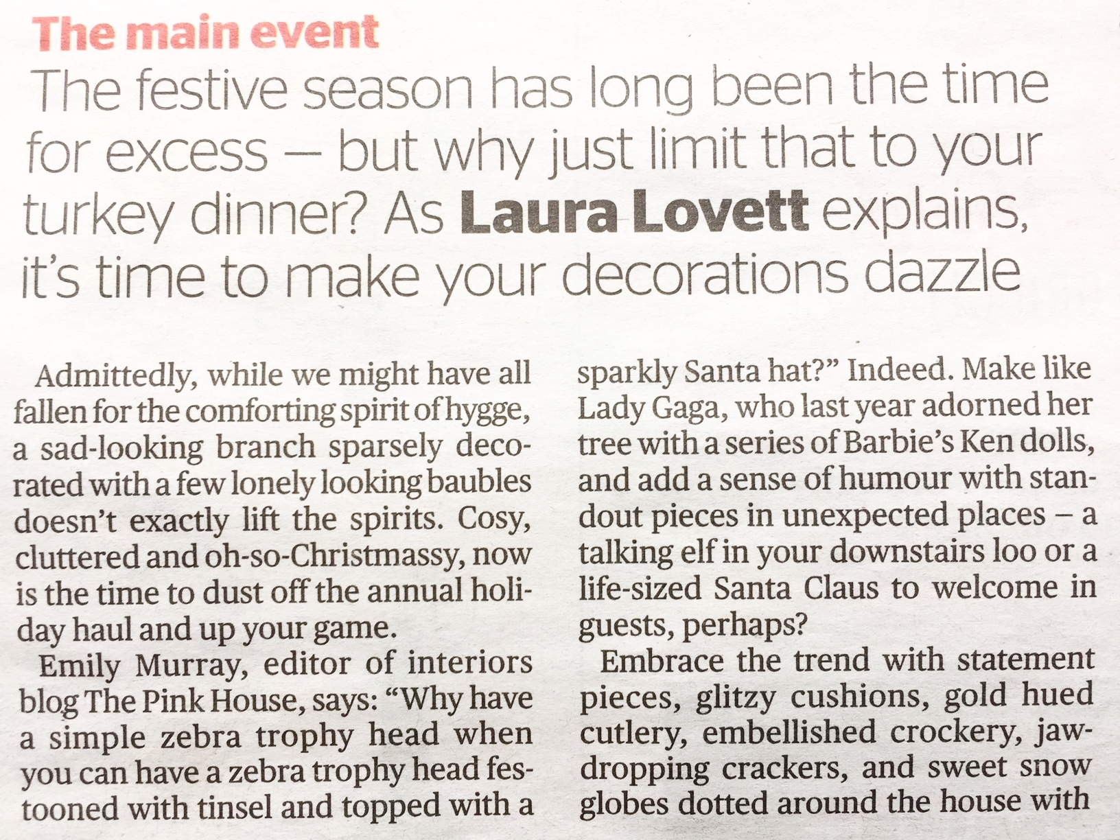 The Pink House's Emily Murray quoted in London Evening Standard