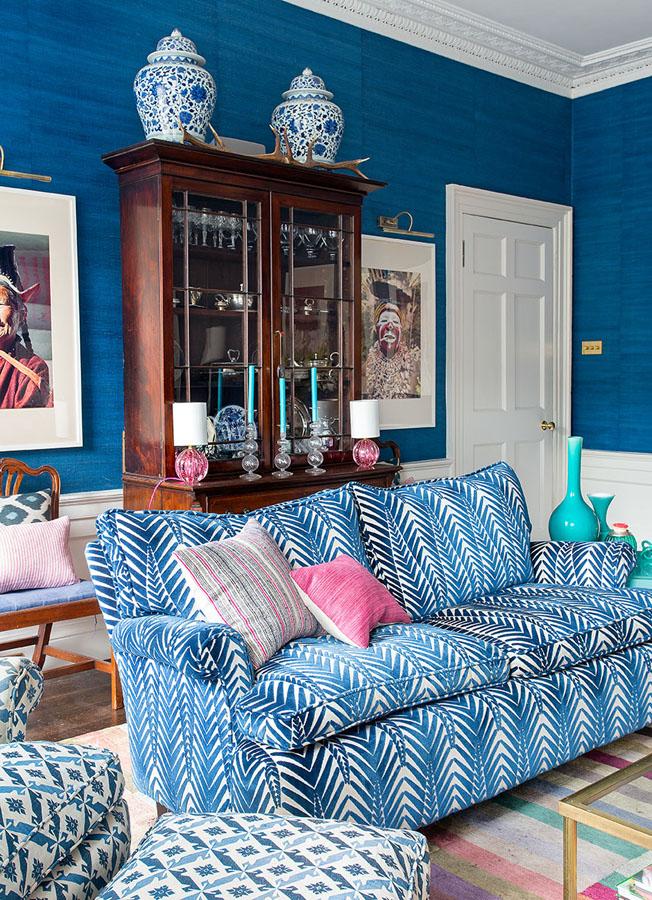 Neisha Crosland Zebra velvet fabric on the sofa