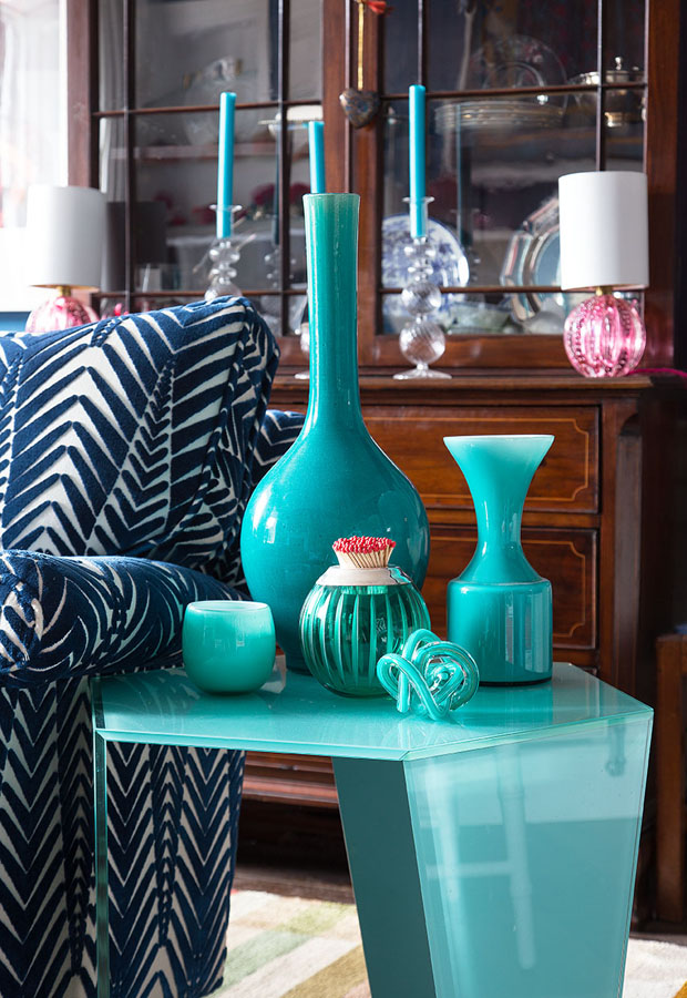 Jessica's turquoise glass collection