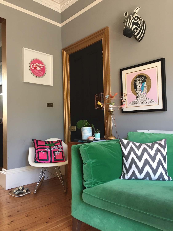 Zig-zag cushion, Jessica Buckley Interiors; Bowie print,  Rugman