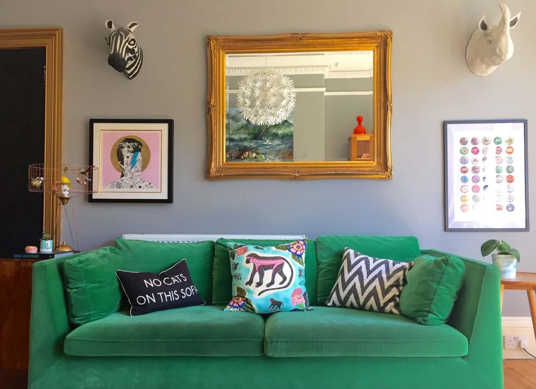 Monkey cushion, Amara; No Cats cushion, Barbara Coupe; Pendant light, IKEA