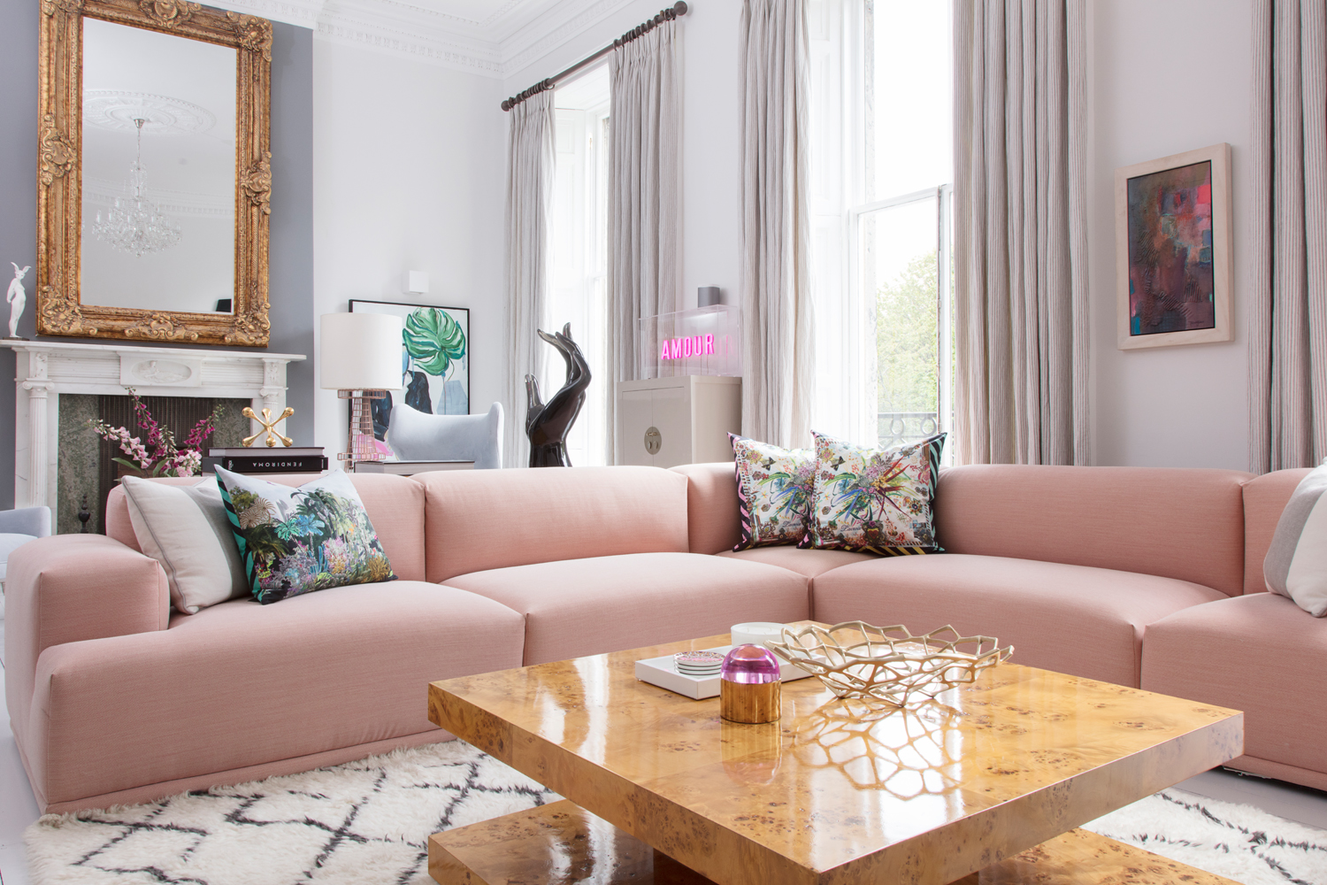 Sofa by Muuto; cushions by Christian Lacroix; coffee table by Jonathan Adler/Photo: Susie Lowe