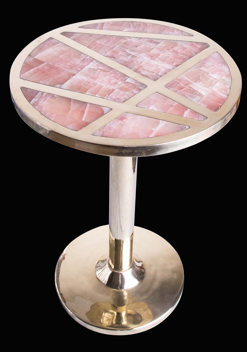 KOHR's pink calcite and brass  hostess table