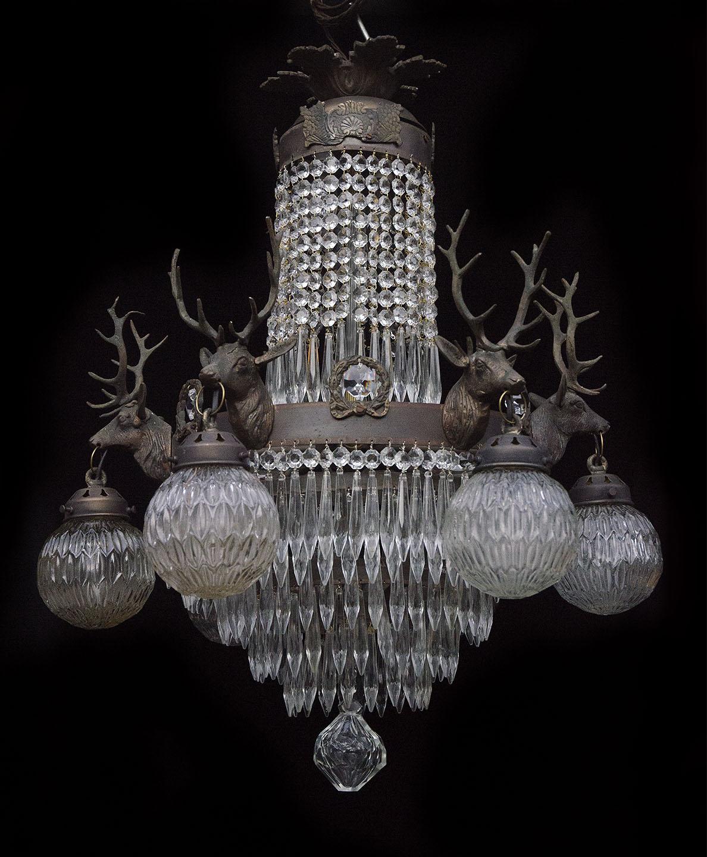 Vintage Wonderland Chandeliers  1930s Belgian stag head chandelier