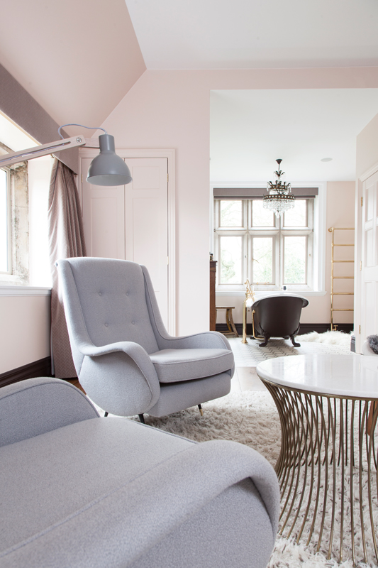 Farrow & Ball Pink Ground master bedroom with grey vintage chairs