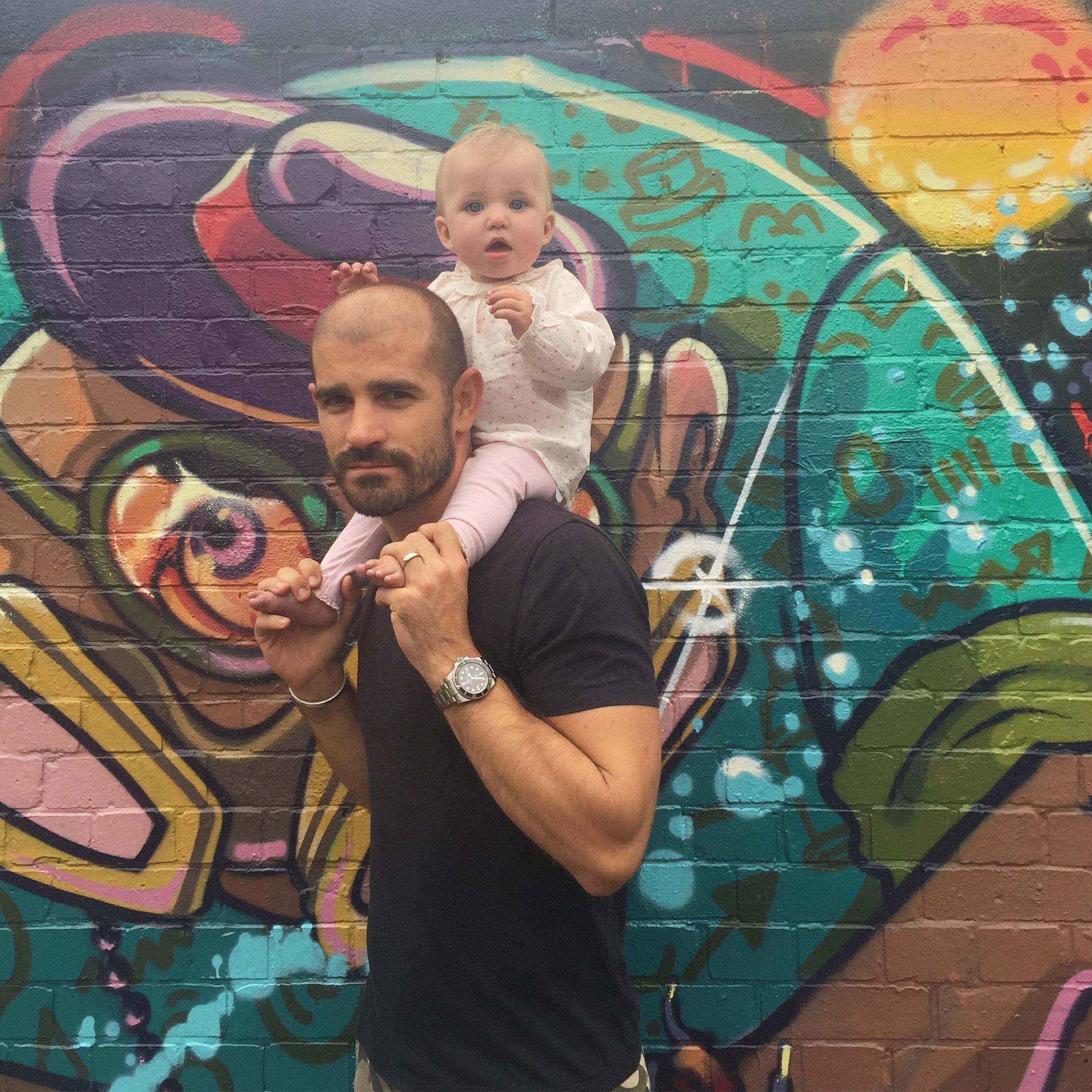 Jess's husband David: better at carrying children than doing DIY