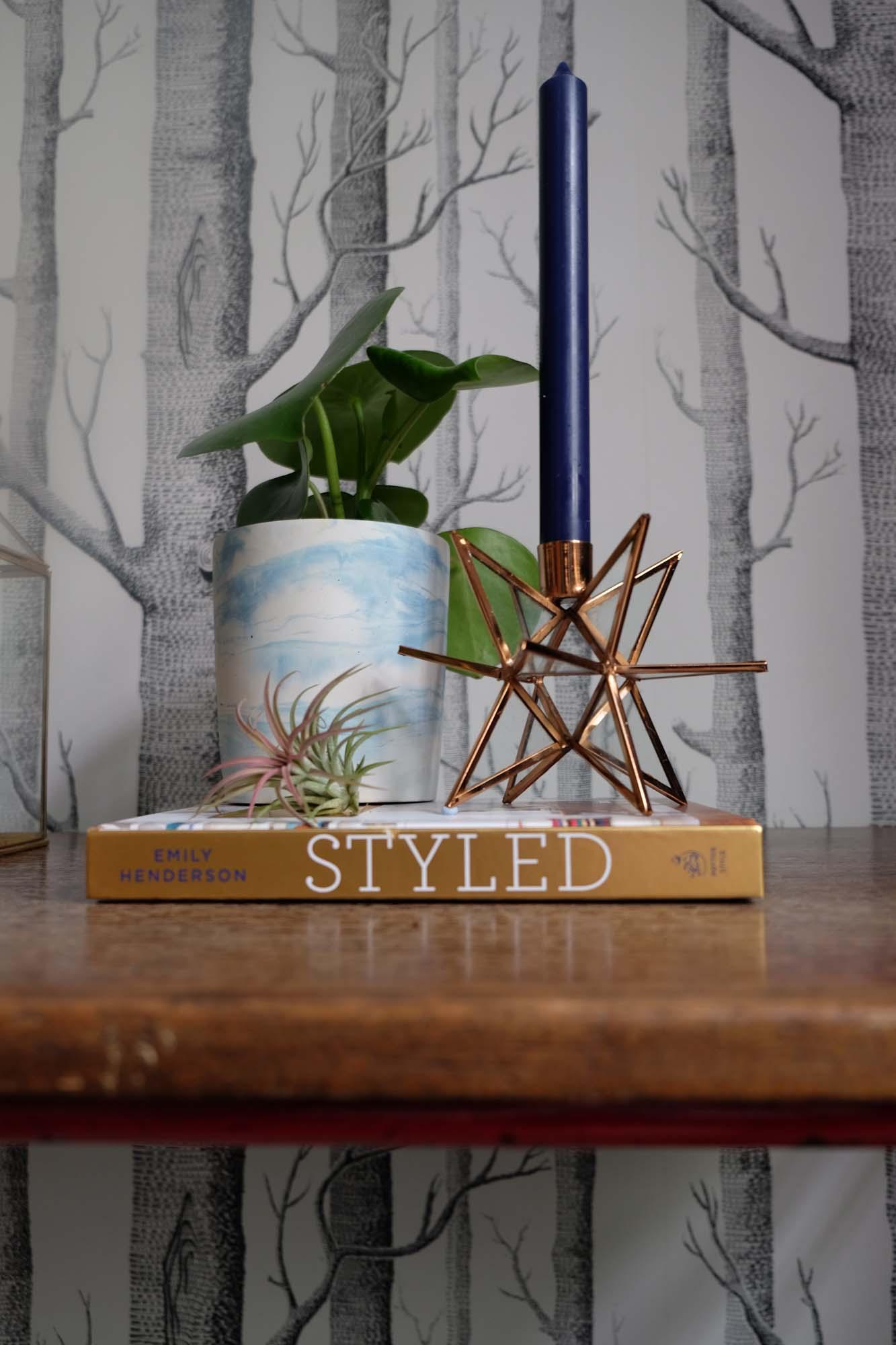 Copper  Estello candlestick ; Blue and white  marble effect plant holder ,both La Redoute