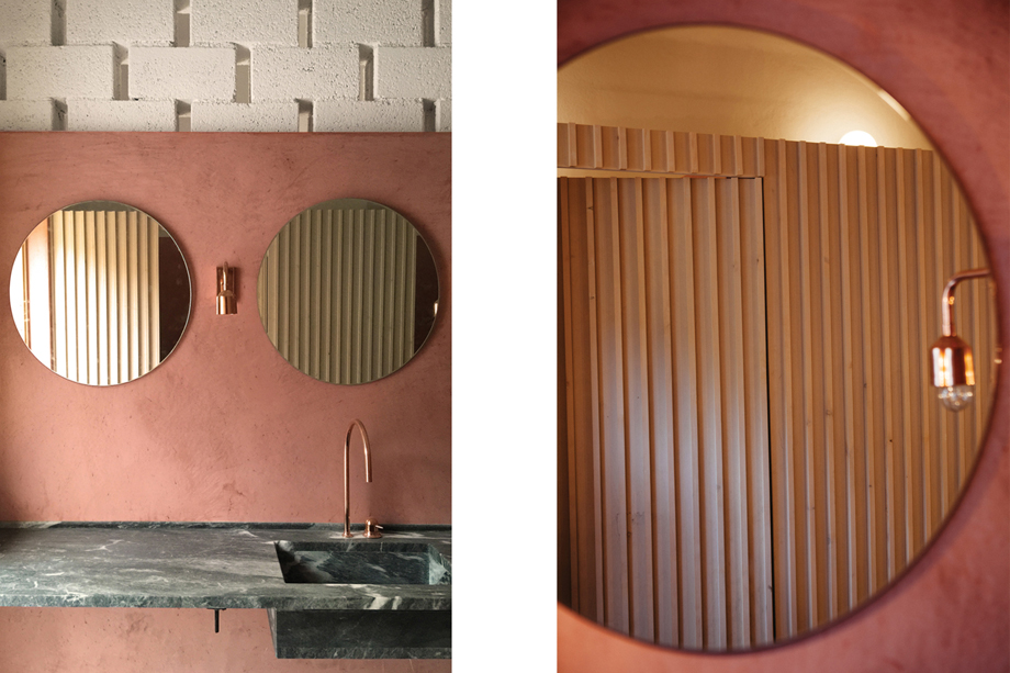 Bathroom in Pazuzu Beach Club, Corfu, designed by  LOT Architects