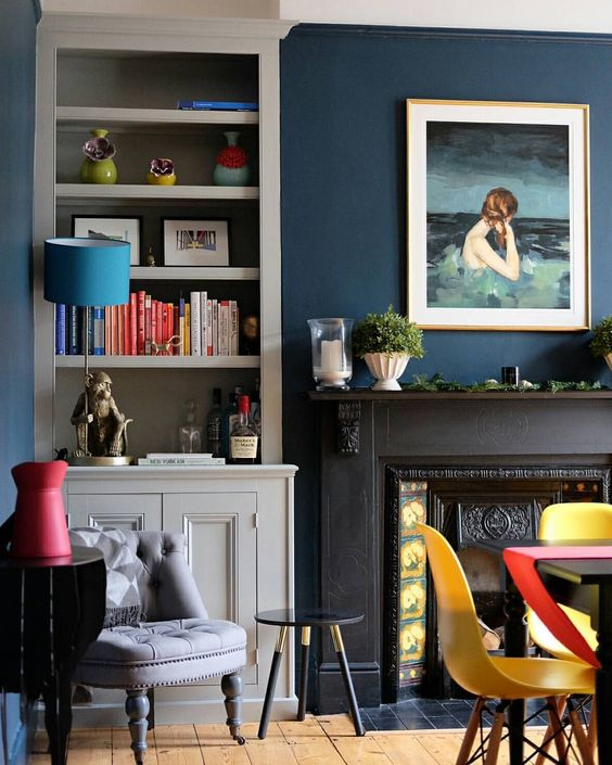Hague Blue in  @alexandre_riley 's colourful sitting room