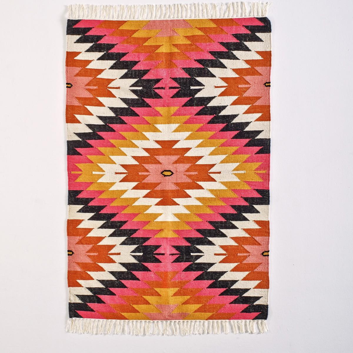 La Redoute Rhombus kilim graphic wool rug