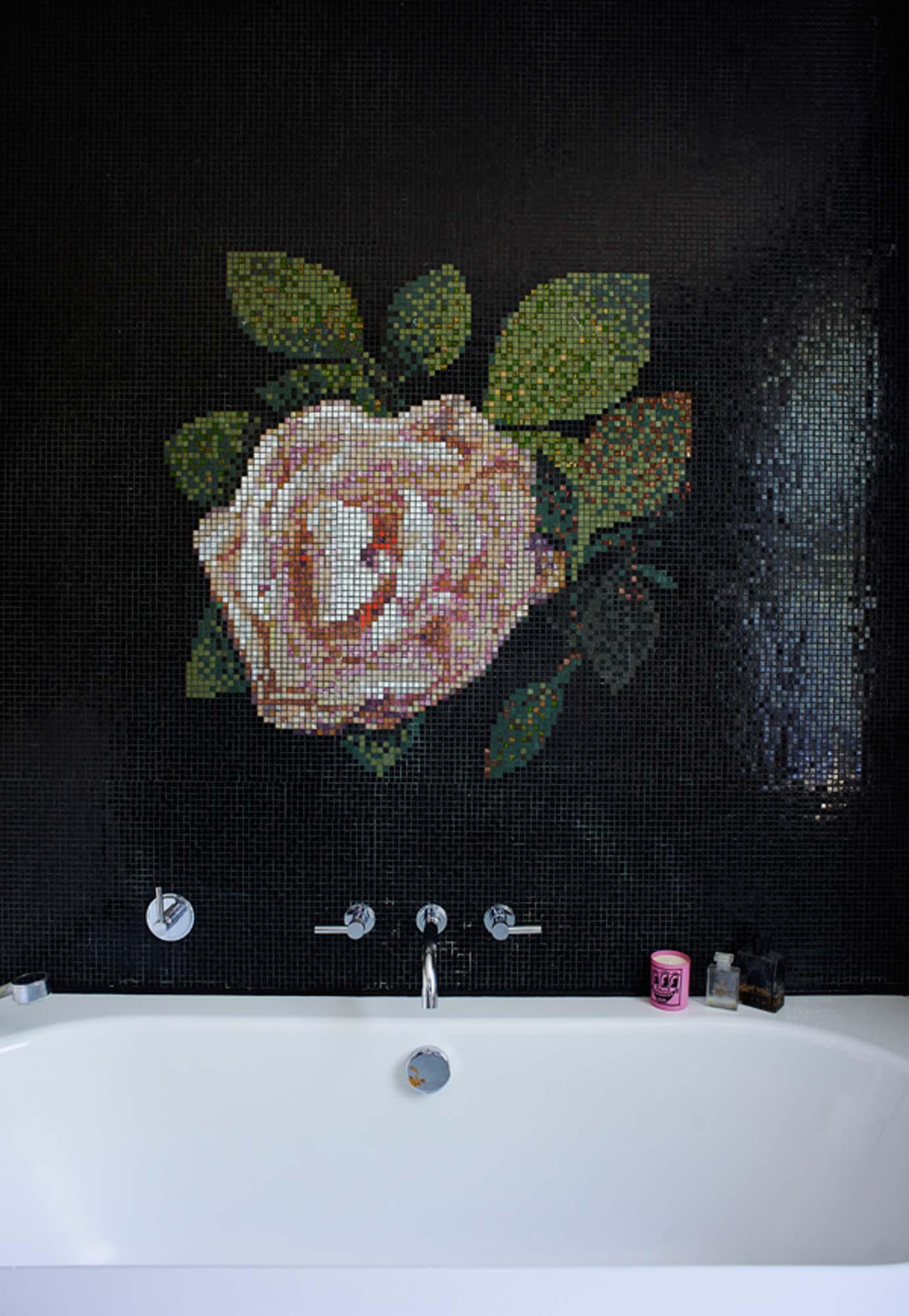 The flower mosaic in Zoe's bathroom