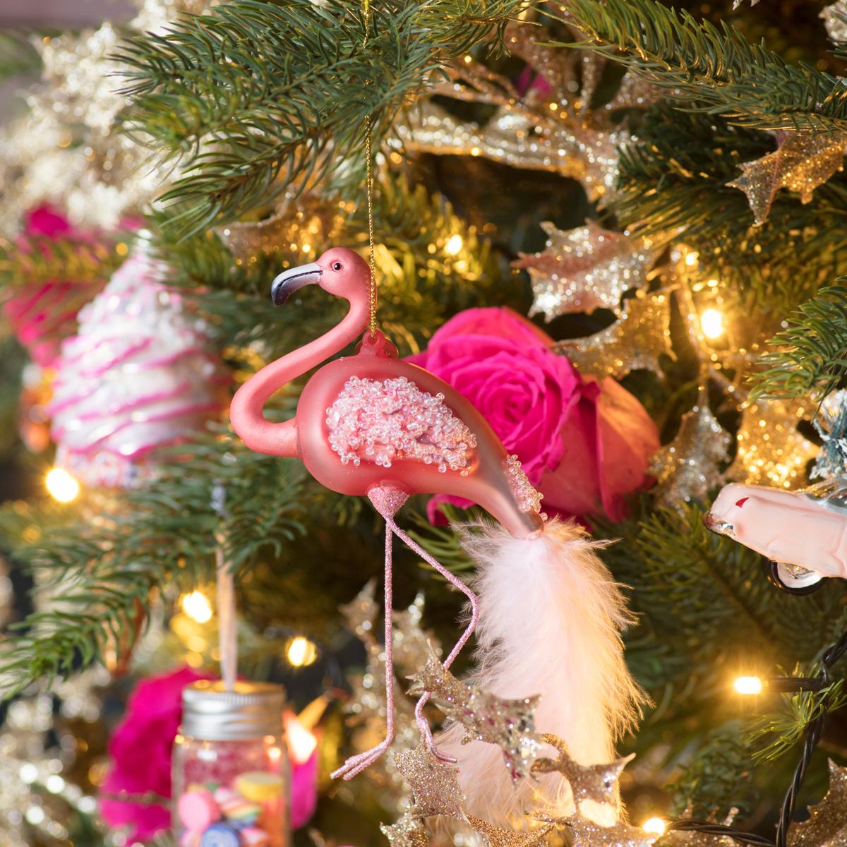 Flamingo Christmas tree decoration from Amara