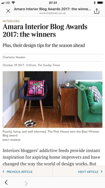 Screen grab of The Sunday Times online article