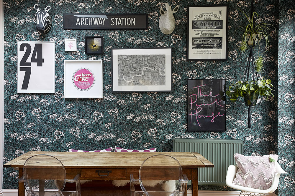 My vintage French 19th century refectory table in front of  Sandberg Malin wallpaper