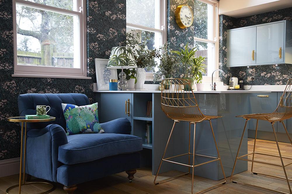 Sofas & Stuff  Chiddingfold armchair  upholstered in  Ian Mankin airforce velvet
