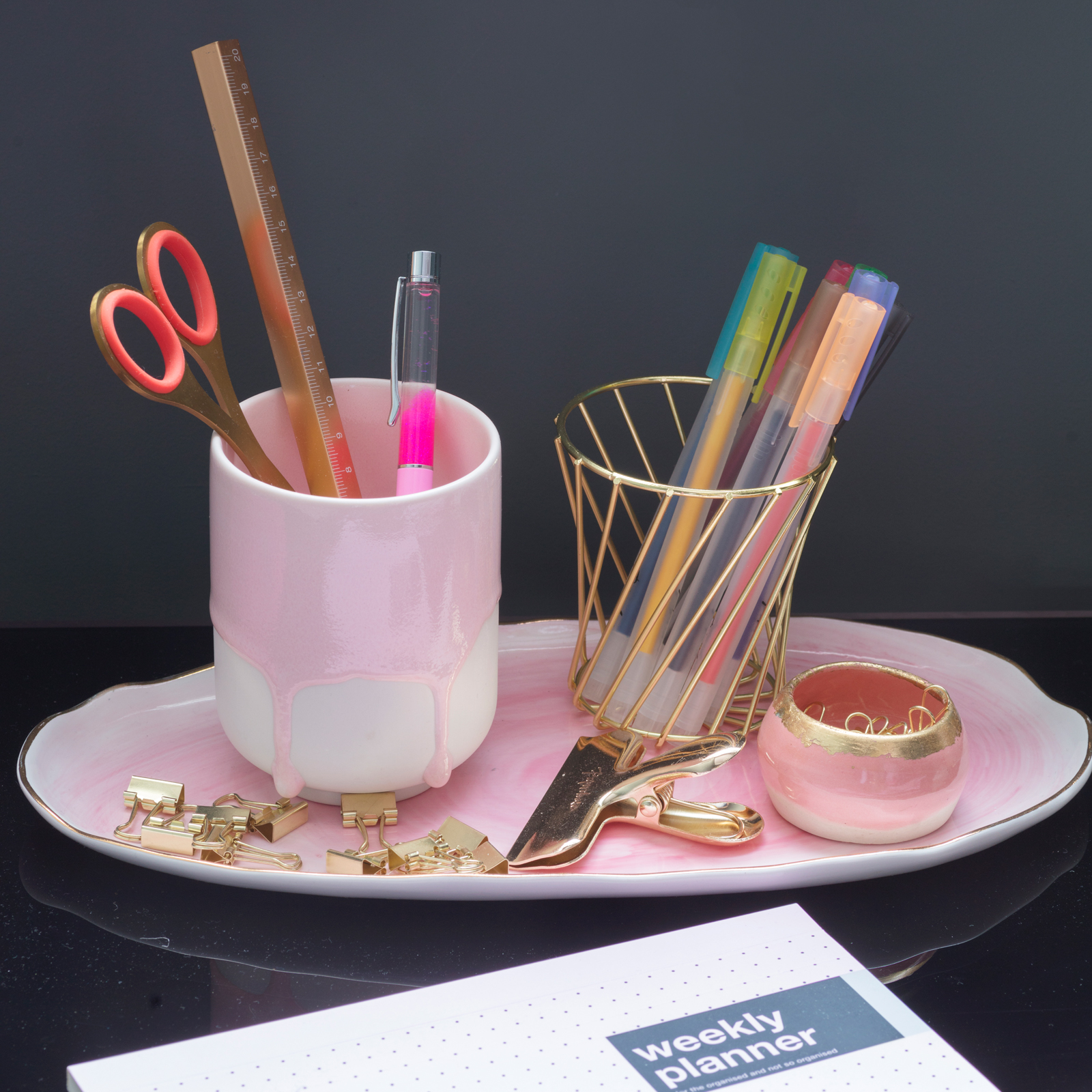 Pink tray with gold Paperchase stationery