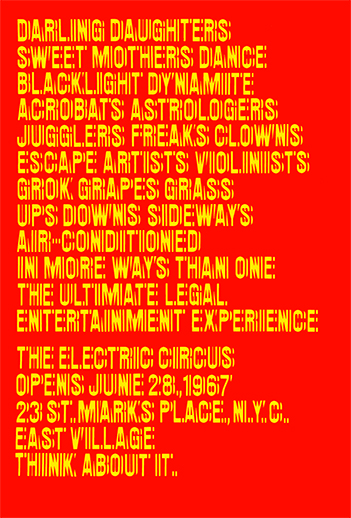 Poster for the Nightclub The Electric Circus, New York, 1967. Design: Chermayeff & Geismar