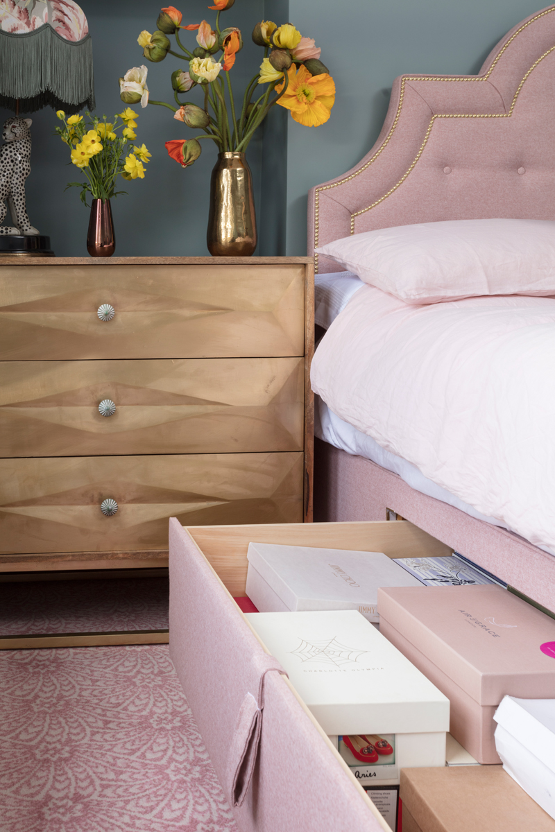 Hypnos Easy Store storage bed with drawers holding 54 shoe boxes