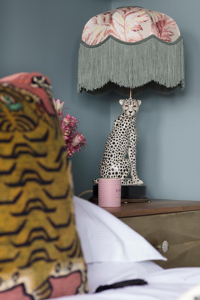 House of Hackney pluma tilia lampshade and Saber tiger pink velvet cushion