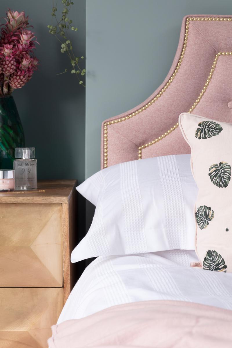 Marks & Spencer bedding and Elizabeth Scarlett monstera pink cushion