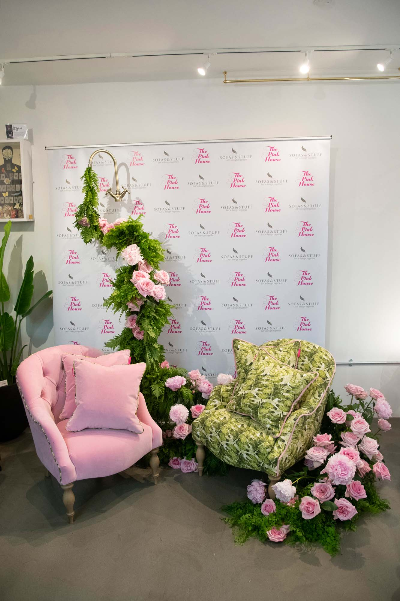Hayford & Rhodes pink peonies and ferns installation for The Pink House