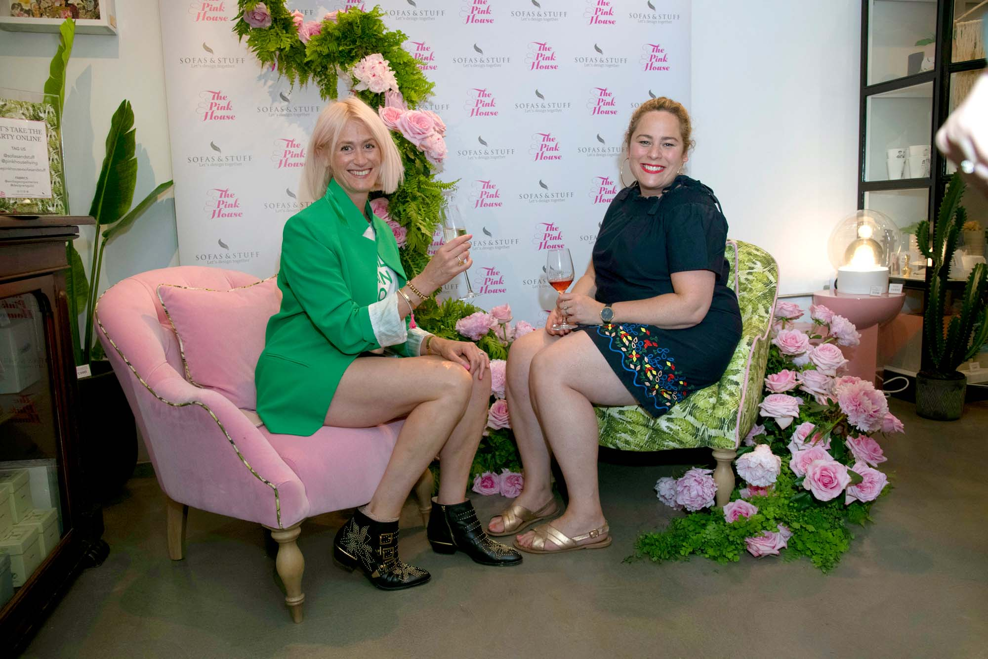 Pink roses and peonies installation by Hayford & Rhodes