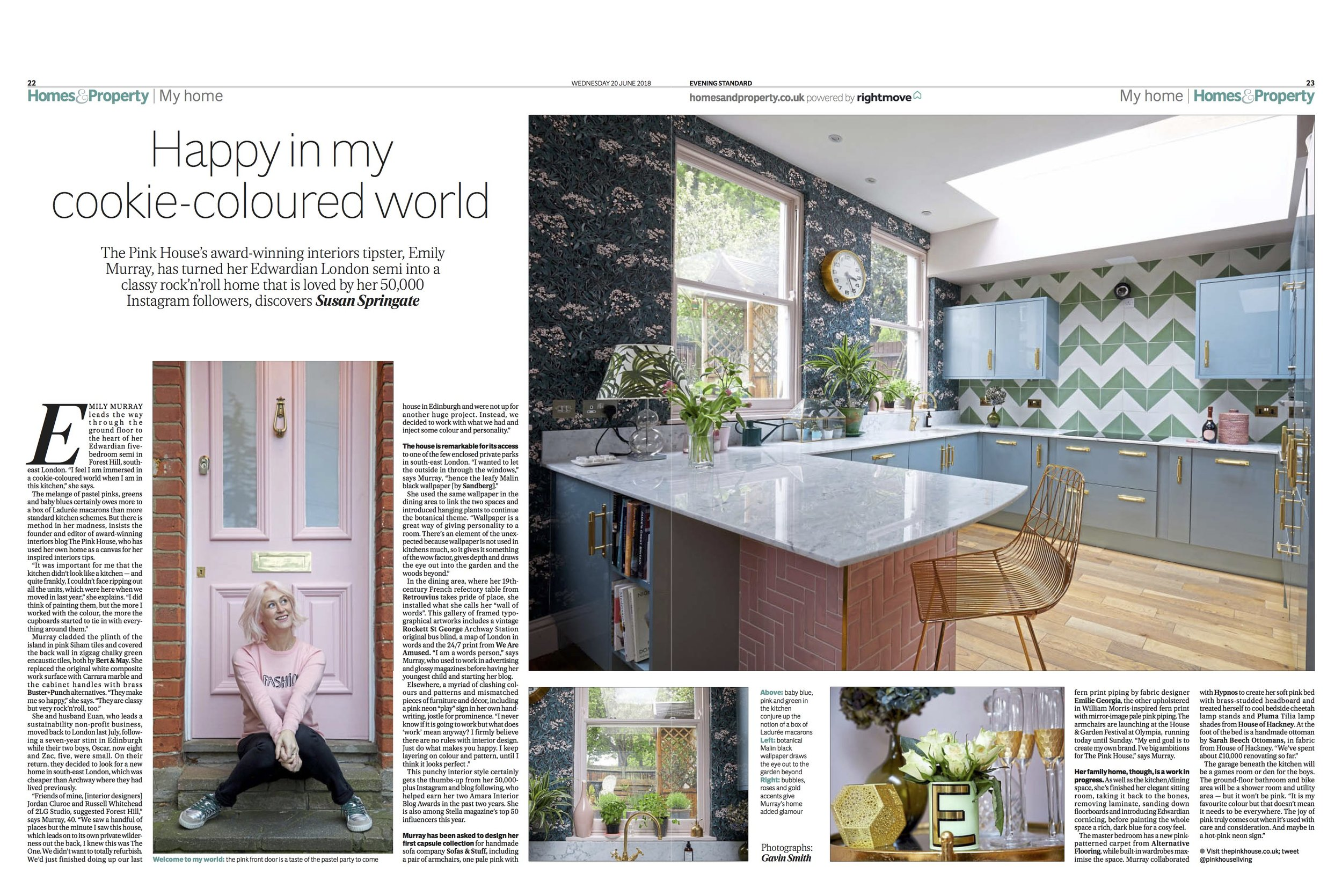 The Pink House in the Evening Standard Homes & Property