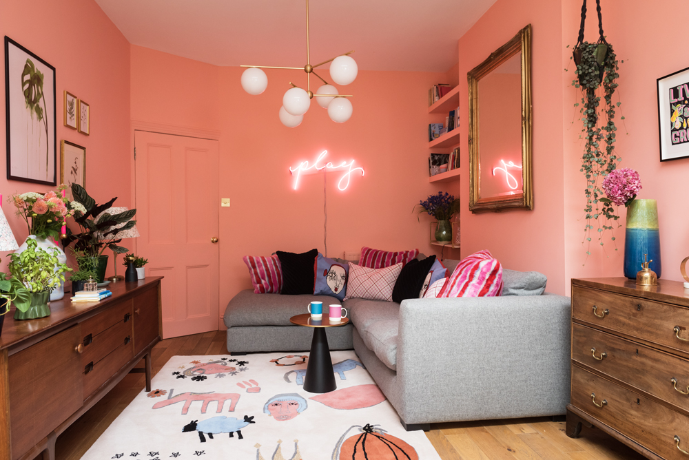 The Pink House's peachy family room, decked out in fabulous Shrimps for Habitat decor