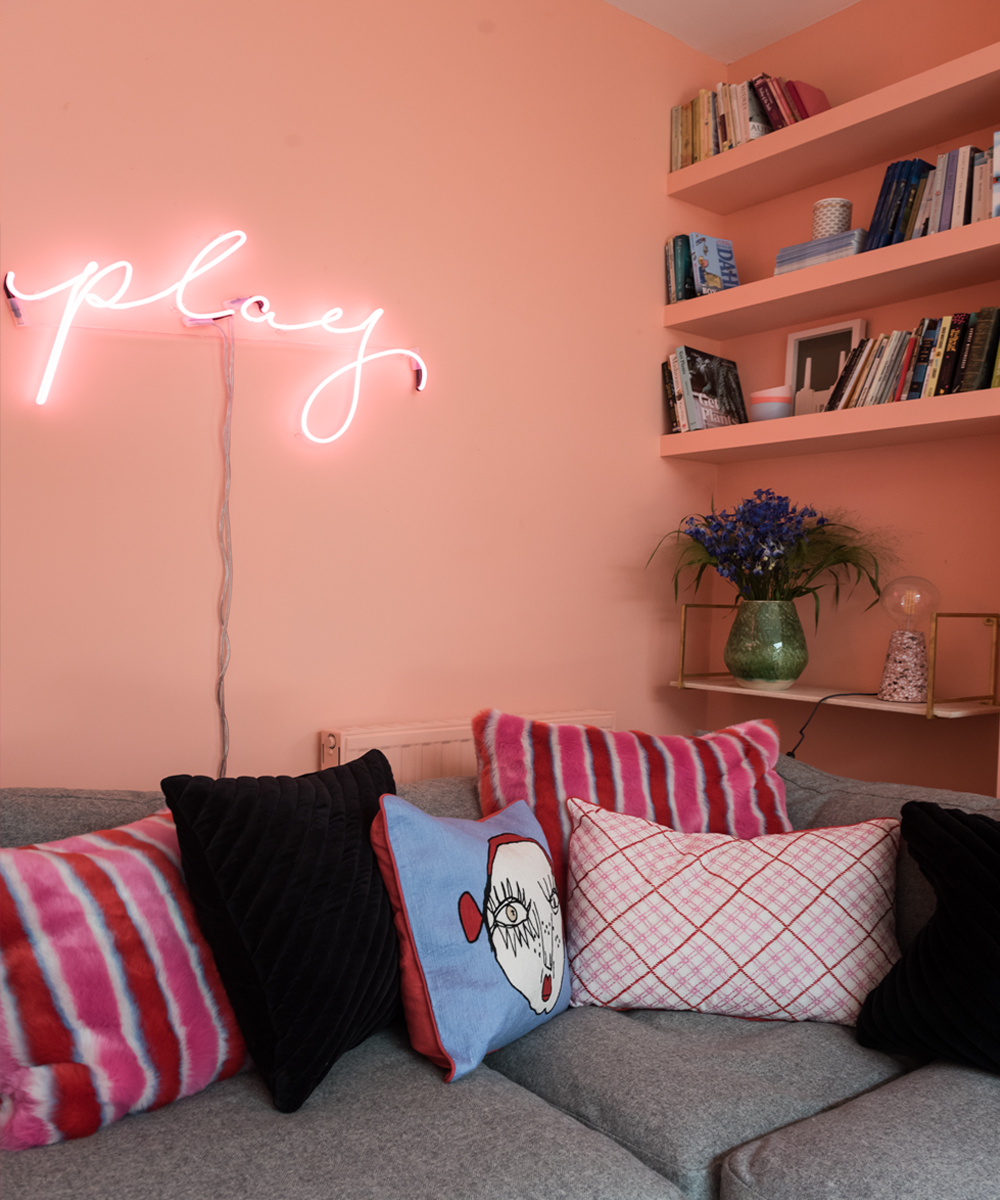 Pink neon sign and Ida by Painthouse peachy pink walls