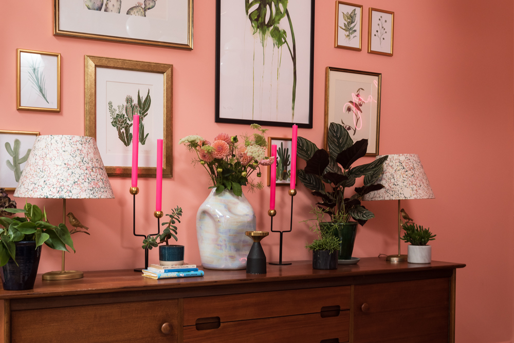 Mid century vintage sideboard styled with plants and candles