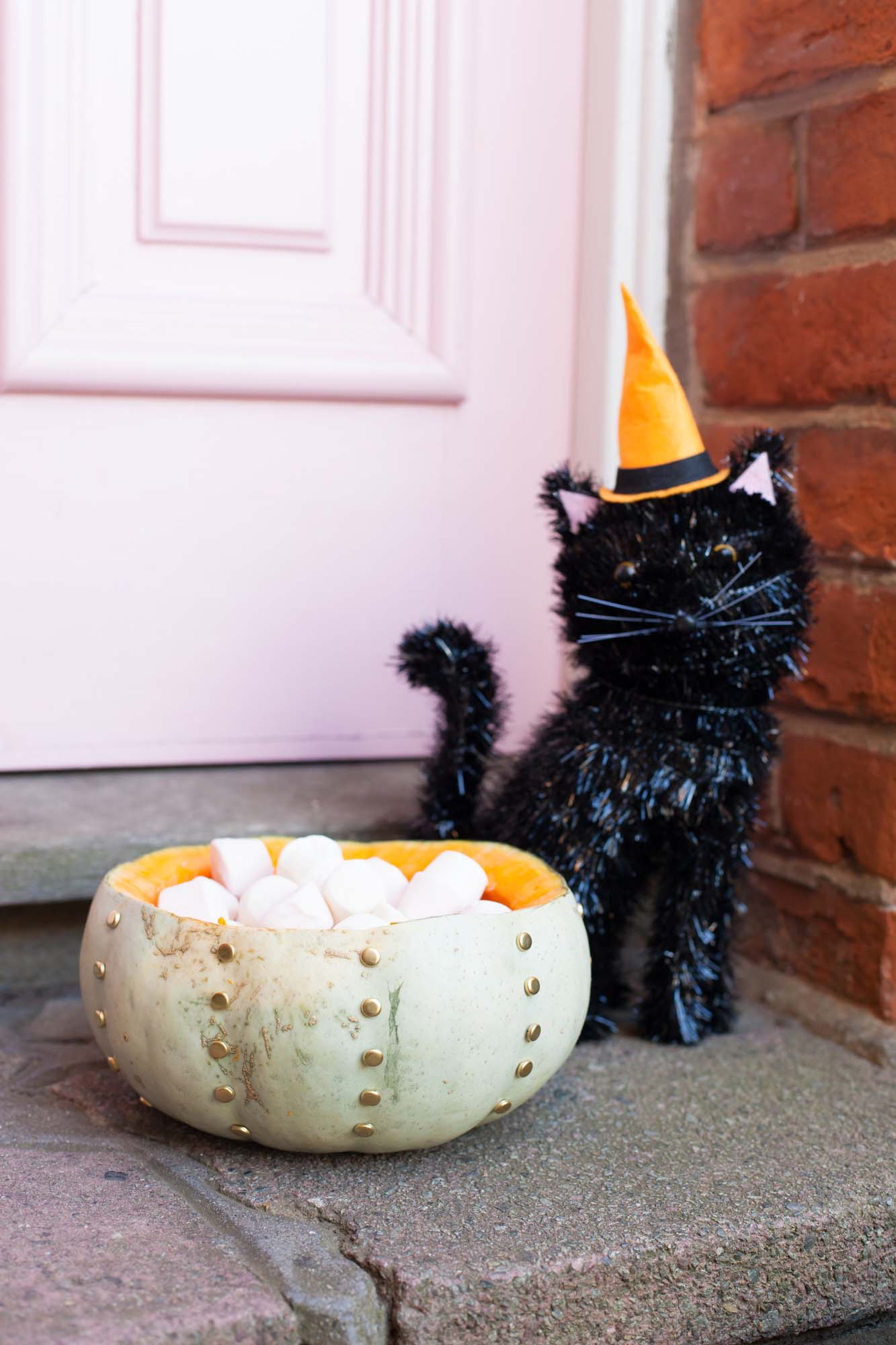Sainsbury's Halloween cat decoration and studded pumpkin